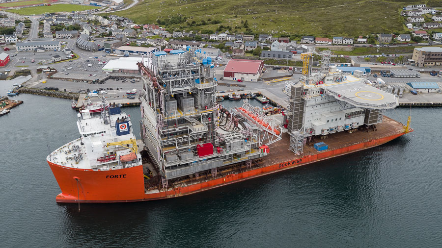 Aerial photograph of Dockwise Forte at Holmsgarth, Lerwick
