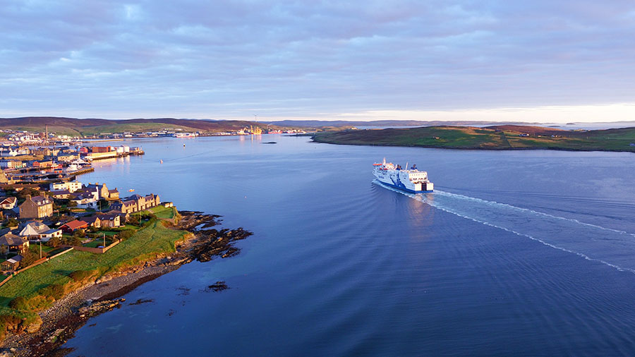 An aerail photograph of Lerwick Harbour, Shetland