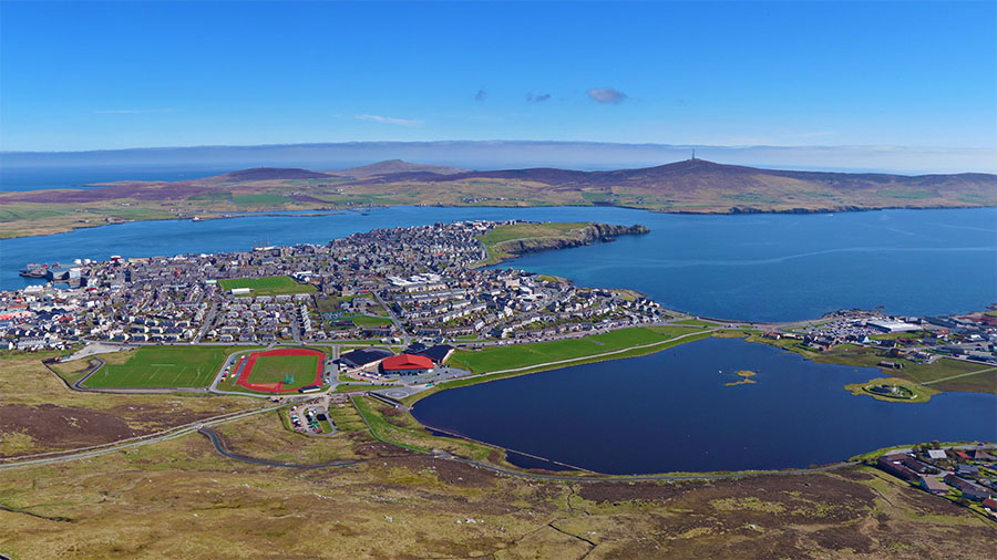A panoramic aerial photograph of Lerwick shot from the Staney Hill