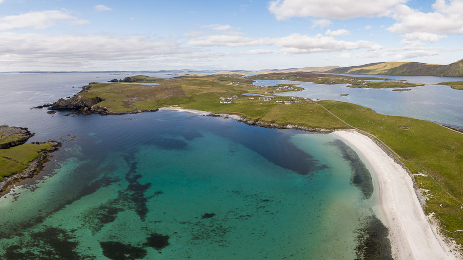 Aerial photo of the stunning Min Beach in Burra, Shetland