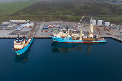 The Maersk Lifter (left) and Inventor at Greenhead Base
